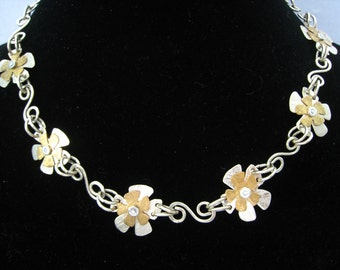 Vintage Sterling & Brass Artisan NECKLACE. 6 Cleverly Constructed Flower Links with hand made S links and alternating Round links in strand.