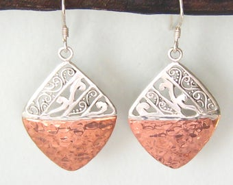 Silver & Copper Vintage Drop Earrings are Diamond Shape, with Filigree Design work in Silver Top Half and Hammered Surface in Bottom Half.