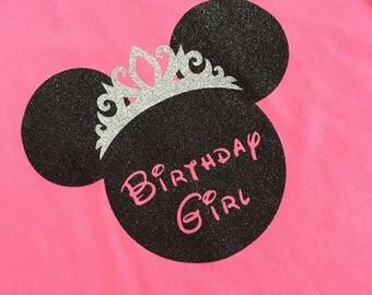 Custom Glitter Princess Minnie Mouse Inspired Birthday Girl Shirt - Infant Disney Shirt-Girls Disney-Womens DIsney Shirt