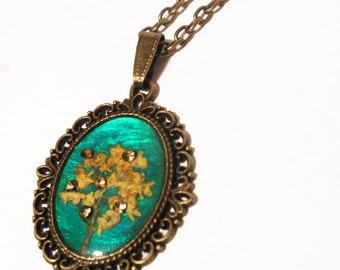 Teal and Yellow Flower Necklace, Jewel Tone Pendant with Yellow Flowers and Rhinestones
