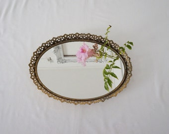 """Vintage Oval Boudoir Vanity Mirror Tray with Golden Frame 13"""" x 9"""""""
