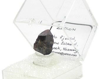 Zircon Crystal, Russet Brown Thumbnail Geo Mineral Specimen from Norway, December Birthstone, from a rockhound's estate gemstone collection