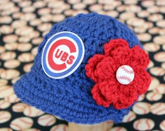 Baby Chicago Cubs - Hat - Knitted / Crochet - Baby Girl Gift / Newborn - Photo Photography Prop - Baseball MLB