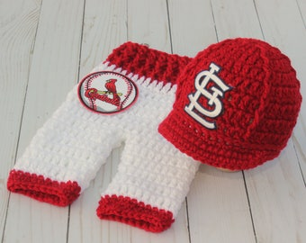 Newborn Baby St. Louis Cardinals Outfit Uniform Set, Hat, Cap, Pants, Knitted Crochet, Baby Gift, Photo Prop, Baseball, MLB