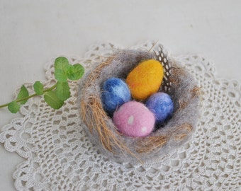Bird Nest and Eggs Ornament Rustic Handmade Spring Easter Decorations Wool Nature Easter AltarDecor