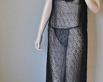 CYBER SALE Vintage Black All Sheer Lace Long Negligee - by Gossard Artemis - Medium