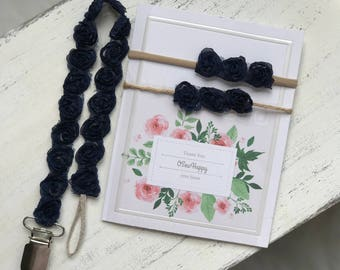 Navy Blue Rose Pacifier Clips/ Newborn Gift/ Baby Girl Shower Gift/ Fourth of July baby/ nylon Headbands/ nautical baby/ 4th of July