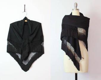 RESERVED / vintage 40s fringed shawl / 1940s black wool crepe shawl / crochet fringed wrap / large fringed scarf / tassel hem wrap