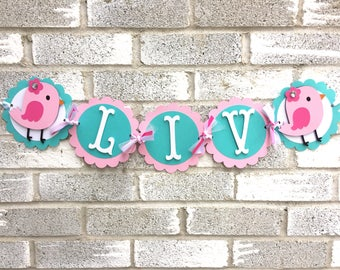Bird Name Banner, Birdie Name Banner, Bird Banner, Birdie Banner, Birthday Banner, Birthday Decorations, First Birthday Banner,Aqua and Pink