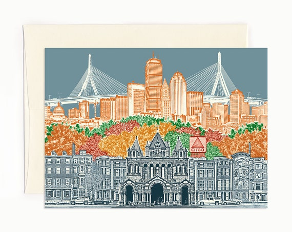 Boston, Massachusetts Notecard - Cityscape - folded Greeting Card - full color - Single or Set