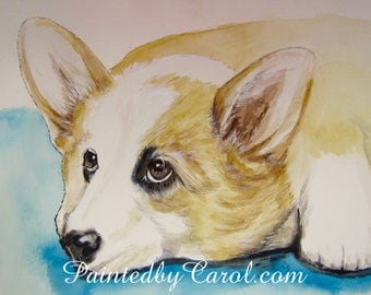 Corgi Original Watercolor Painting, Painting of Corgi, Corgi Watercolor, Watercolor Corgi, Corgi Original Art, Corgi Art, Corgi Painting
