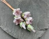 6 lilac flower lampwork glass headpins