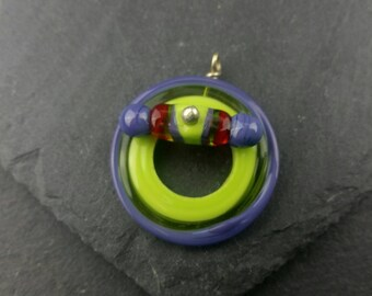 Quirky purple and green handmade glass toggle clasp