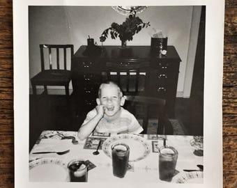 Original Vintage Photograph Dinnertime Tommy