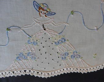 """Vintage White Dresser Scarf, 18"""" X 39"""" hand embroidered with hand crocheted lace edging flower girl and ribbons  shabby chic"""