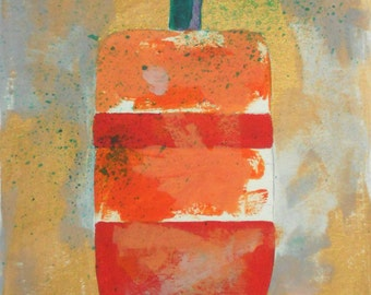 Red Buoy - maritime sea lobster original contemporary acrylic painting matted Maine artist Free Shipping