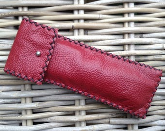Handstitched soft dark red leather pen holder pen case with silver stud and black zig zag stitch
