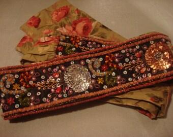 Vintage 1980s Embellished Boho Tie Waist Belt