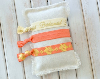 Bridesmaid Hair Ties Bridesmaid Gift Bride Tribe Coral Gold Gift under 10 Tie the Knot Elastic Hair Tie Bracelet