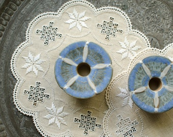 Vintage Japanese Handmade Stoneware Periwinkle Pottery Candle Holders Set of 2 - Made in Japan