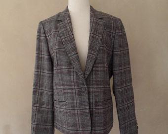 Vintage Lady Pendleton Blazer Wool Size 14  Gray Plaid Jacket