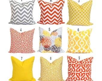 OUTDOOR Pillows, Outdoor Pillow Covers, Orange Pillow Cover, Yellow Gray,  Decorative Pillow