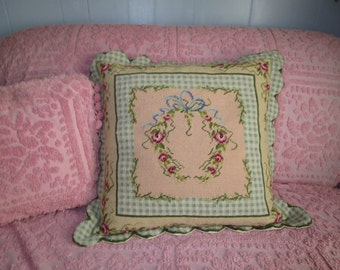 Extra Large Shabby Chic Feather Pillow Wreath Needlepoint Pillow, French Country