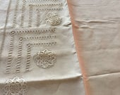 Wonderful large antique french  metis linen sheet with hand made  embroidered .