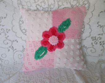 """Pillow, Pink Chenille Pillow, Handmade Pillow, Vintage Chenille Pillow, Nursery Pillow, Throw Pillow, Accent Pillow, Cotton Pillow, 15 x 15"""""""