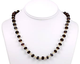 Garnet Necklace Faceted Chain Link  Beaded Necklace 18 19 24 Inch Red Garnet Rondelles Mystic Finish Deep Red Color 7mm 14k Gold Plate Fill