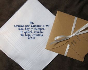 Father of the Bride - Spanish Version - Personalized Wedding Handkerchief With Free Gift Envelope - Shown with Royal Blue Non Script Writing