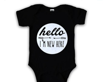 Hello Im New Here BLACK ROMPER funny baby baby clothes, baby creeper, funny baby romper, baby shower, baby gifts, gifts for new mom