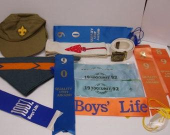 Vintage 14 Piece Boy Scout Stuff Cap-Belt-Buckle-Ribbons-Arrow Sach- Neckerchief Bou Scouts Of American