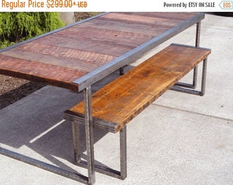 Limited Time Sale 10%OFF Industrial Dining Table, Antique Old Barn Wood, Raw Steel Edge, Rectangular Hammered Steel Legs, Customizable