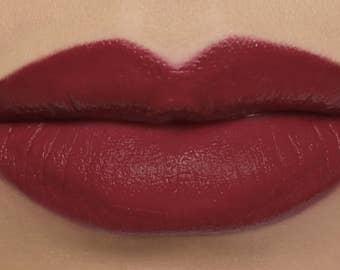 "Matte Lipstick - ""Spellbound"" (deep red wine vegan lipstick with opaque coverage)"