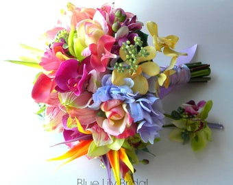 Custom Wedding Bouquet with Real Touch Flowers,  Tropical Bridal Bouquet in Pinks, Periwinkle, Magenta, Green, and Yellow -Style #115