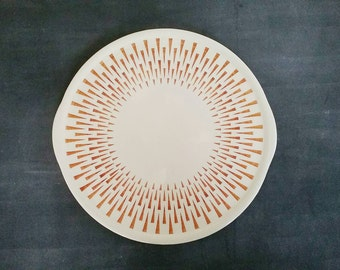 Cakestand, Dessert Plate, Vintage serving platter, Ceramic Platter, Pottery Platter, Cake Stand with geometric pattern, decorative dish
