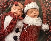 Santa and Snowman Sets, Twins Christmas Outfits, Twins Christmas Outfits, Twins First Christmas, Newborn Christmas, Newborn Photo Prop Set