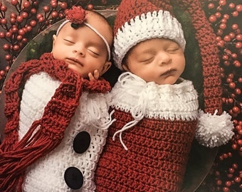 Santa and Snowman Outfits, Twins Christmas Outfits, Santa and Snowman Sets, Crochet Santa and Snowman, Boy Girl Twins, Newborn Twins Set