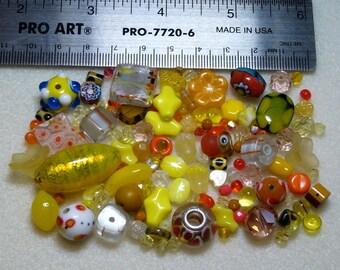 BEAD SOUP - Destash - Glass & Crystal - yellows, oranges - variety - beads PG906