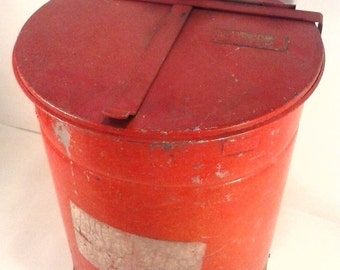 VINTAGE 1920'S ERA Underwriters Laboratory Waste Trash Can MtalL Red #B873297