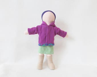 Little light peach doll, purple winter doll, handmade cloth doll with removable and machine washable clothes and body, faceless doll
