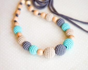 Grey blue nursing necklace - Breastfeeding necklace -  Sling Accessory - nursing necklace -  babywearing