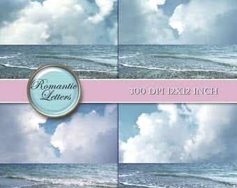 Wedding photography digital backdrop Sea beach digital background photo ocean sky cloud backdrop wedding digital photoshop background