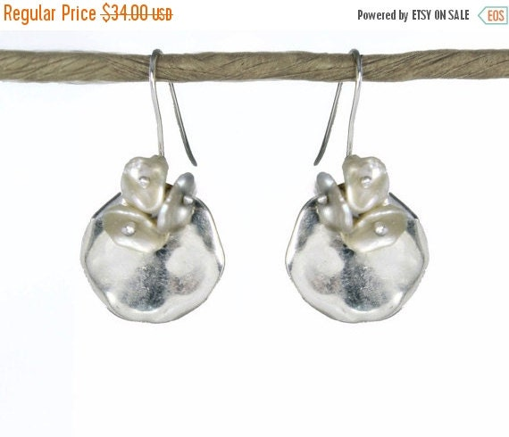 20% off. Kalfula. Moon Flower Earrings in Silver and Pearl. Greek Sterling Silver and Ceramic Disks with Keshi Pearls. EX.