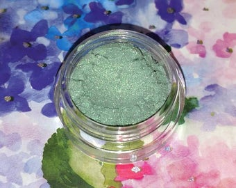 COTM  Mermaid Scales - bright luminous green mineral eyeshadow 5 gram jar VEGAN