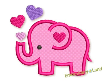 Cute Elephant Applique Embroidery Design Machine Embroidery Valentine's Day for Baby 4x4 5x7 6x10 hoop sizes VA039