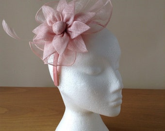 Pale Pink Fascinator and Feather Fascinator on a hairband, races, weddings, special occasions, Ascot, Mother of Bride