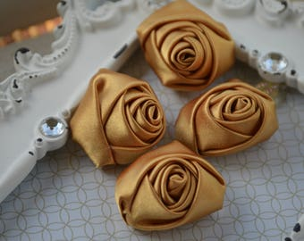 "1"" Gold Satin Fabric Roses, Satin Rolled Rosettes, Satin Fabric Flowers, Rolled Roses, Rolled Satin Roses, Satin Flowers"