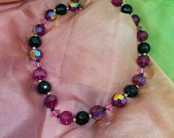 LISNER Ruby Red Crystal Irridecent Necklace